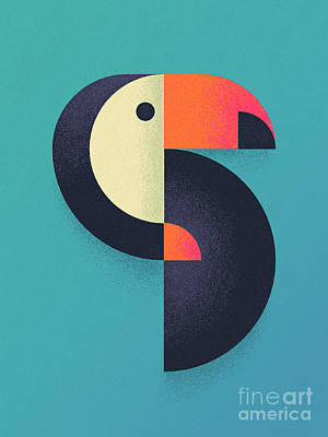 Animals Digital Art - Toucan Geometric - Single by Ivan Krpan