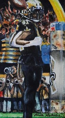 Sports Paintings - Touchdown Kamara #41 by Misha Ambrosia
