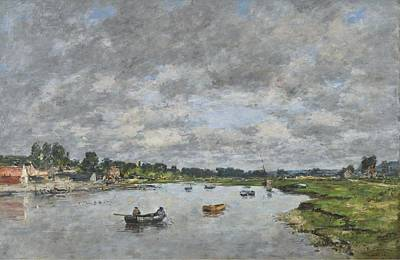 Popstar And Musician Paintings Royalty Free Images - Touques at Trouville, 1871 Royalty-Free Image by Eugene Boudin