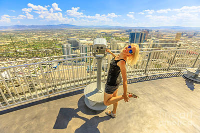 Photograph - Tourist At Las Vegas Top View by Benny Marty