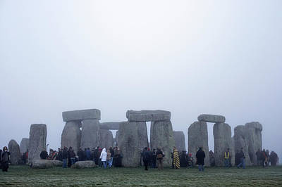 Winter Solstice Wall Art - Photograph - Tourist At Stonehenge In Winter by Tim Robberts