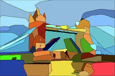 Mixed Media Royalty Free Images - Tower Bridge Abstract Royalty-Free Image by David Ridley
