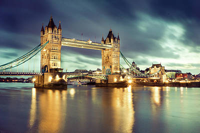 Standing Photograph - Tower Bridge At Night by Towfiqu Photography