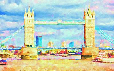 Mixed Media Royalty Free Images - Tower Bridge London Royalty-Free Image by David Ridley