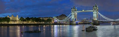 Fantasy Royalty-Free and Rights-Managed Images - Tower of London and Tower Bridge at Night Panoramic by Adam Romanowicz