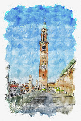 Sean Rights Managed Images - Tower #watercolor #sketch #tower #architecture Royalty-Free Image by TintoDesigns