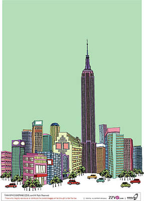 Tower With Buildings Against Clear Sky Art Print by Eastnine Inc.