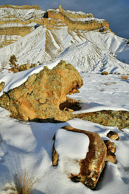 Photograph - Towering Snow Covered Book Cliffs by Ray Mathis
