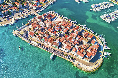 Comedian Drawings - Town of Tribunj on small island aerial view by Brch Photography