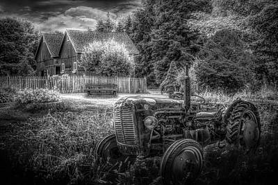 Photograph - Tractor In The Garden In Black And White by Debra and Dave Vanderlaan