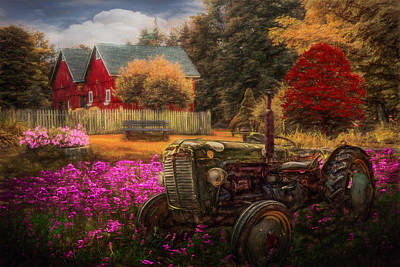 Photograph - Tractor In The Garden In Fall Colors Painting by Debra and Dave Vanderlaan