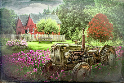 Photograph - Tractor In The Garden On A Country Morning by Debra and Dave Vanderlaan