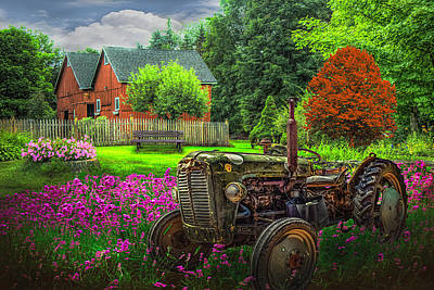 Photograph - Tractor In The Garden Painting by Debra and Dave Vanderlaan