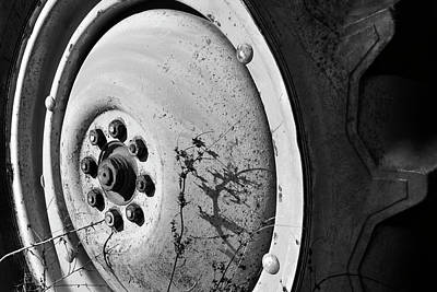 Photograph - Tractor Wheel - Black And White by Luke Moore