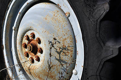 Photograph - Tractor Wheel - Rustic Colors by Luke Moore
