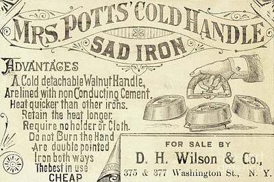 Drawing - Trade Card For Mrs Potts Cold Handle Sad Iron by American School