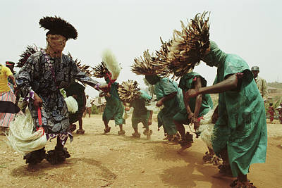 Traditional Clothing Photograph - Traditional Dance, Bamenda, Cameroon by Tim Graham