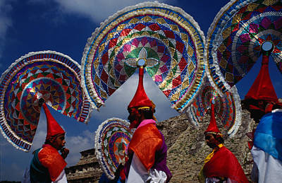 Photograph - Traditional Quetzal Dancers With by Jeffrey Becom
