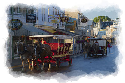 Railroad - Traffic downtown Mackinac paintography by Dan Friend
