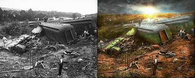 Photograph - Train - Accident - Pile Up On The Anacostia River 1933 - Side By Side by Mike Savad