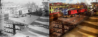 Photograph - Train - Accident - The Old Switcheroo 1909 - Side By Side by Mike Savad