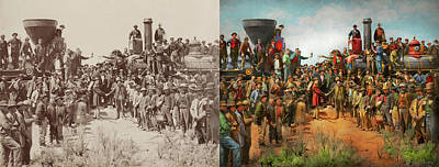 Photograph - Train - Civil - The Champagne Photo 1869 - Side By Side by Mike Savad