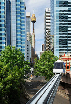Photograph - Train On Sydney Monorail, Sydney by Marco Simoni
