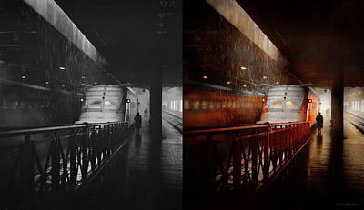 Photograph - Train - Retro - Last Train Of The Day 1943 - Side By Side by Mike Savad