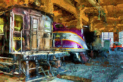 Painting - Trains Steam And Diesel Locomotives Ap by Dan Carmichael