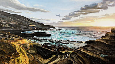 Painting - Tranquil Sunrise in Hawaii by Jason Koizumi
