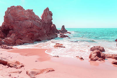 Photograph - Transcending Reality - Beachscape In Coral Pink And Turquoise by Georgia Mizuleva