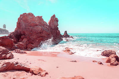 Photograph - Transcending Reality - Beachscape Wave Splash In Coral Pink And Turquoise by Georgia Mizuleva