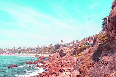 Photograph - Transcending Reality - Corona Del Mar Beach And Cliffs In Coral Pink And Turquoise by Georgia Mizuleva