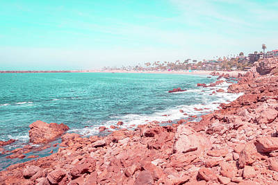 Photograph - Transcending Reality - Corona Del Mar Oceanscape In Coral Pink And Turquoise by Georgia Mizuleva