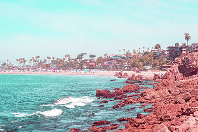 Photograph - Transcending Reality - Corona Del Mar State Beach In Coral Pink And Turquoise by Georgia Mizuleva