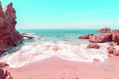 Photograph - Transcending Reality - Rocky Beachscape In Coral Pink And Turquoise by Georgia Mizuleva