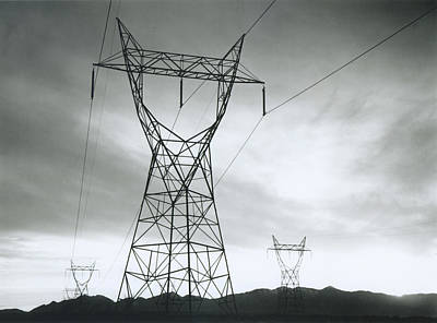 Photograph - Transmission Lines In Mojave Desert by Archive Photos