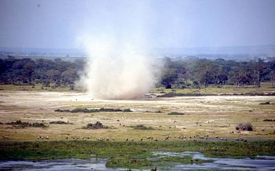 Painting - Travel, African Safari 1983, Africa, Wildlife, Dust Tornado by Celestial Images