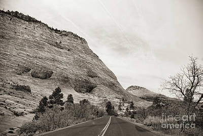 Photograph - Travel Road Zion National Park Utah Sepia Tones  by Chuck Kuhn