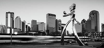 Photograph - Traveling Man - Dallas Skyline Panorama - Black And White by Gregory Ballos