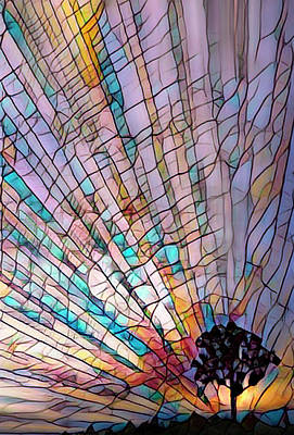 Photograph - Tree On The Hill Under A Stained Glass Rainbow by Debra and Dave Vanderlaan