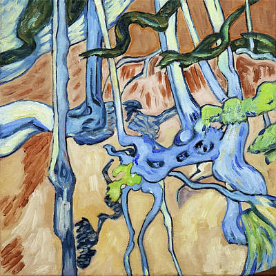 Painting - Tree Roots, diptych, left panel, after Vincent Van Gogh by Linda Falorio