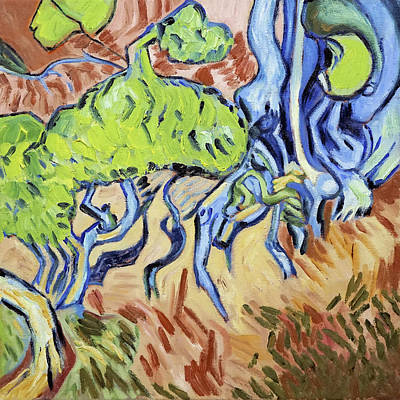 Painting - Tree Roots, diptych, right panel, after Vincent Van Gogh by Linda Falorio