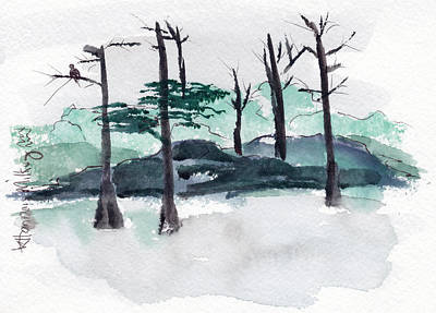 Painting - Trees In A Snow Covered Landscape by Kathryn H. Milkey