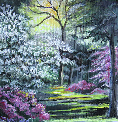 Painting - Trees In Bloom by Jean Batzell Fitzgerald