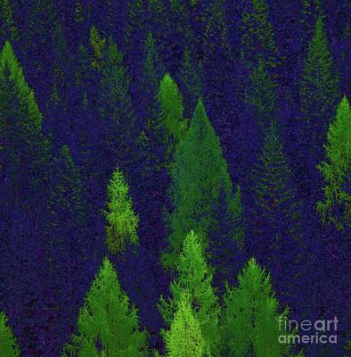 Digital Art - Treetops Blue And Green by Corinne Carroll