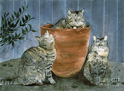 Painting - Tres Gatos by Monte Toon