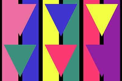 Digital Art - Triangle Stripe - Spring - On Black by REVAD David Riley