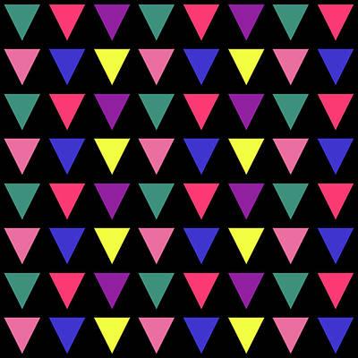 Digital Art - Triangular Grid - Spring - On Black by REVAD David Riley