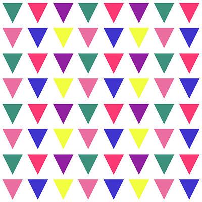 Digital Art - Triangular Grid - Spring - On White by REVAD David Riley